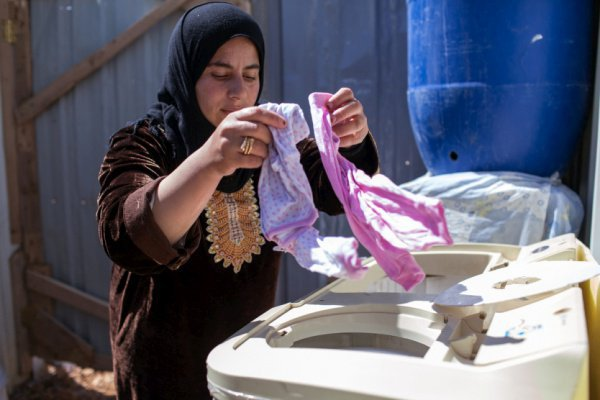 Сирийские беженцы в лагере Азрак.