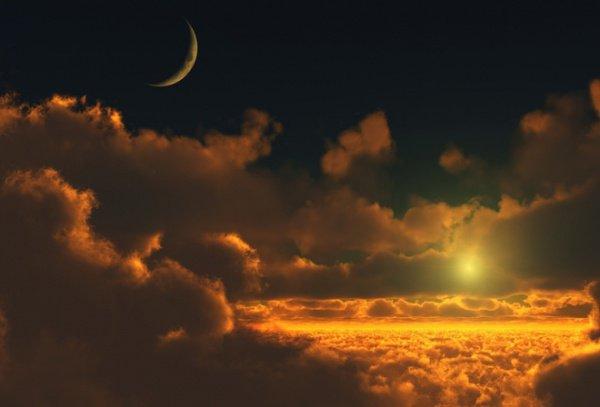 Из света Арша было создано солнце, а из покрывала света солнца была создана луна
