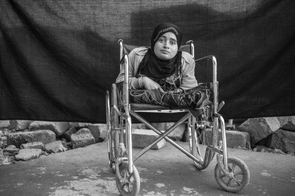 Душа: 24-летняя Алия не считает, что ее инвалидное кресло – главное, что она взяла с собой, по ее словам из Сирии она привезла только свою душу