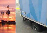 Жара в Кувейте: грузовик увяз в расплавленном асфальте