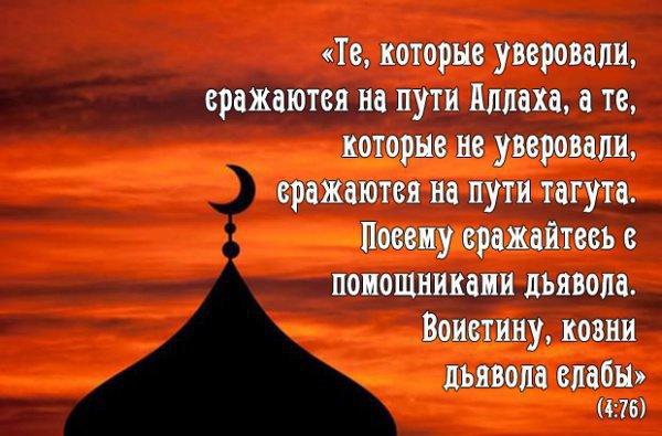 «Те, которые уверовали, сражаются на пути Аллаха, а те, которые не уверовали, сражаются на пути тагута. Посему сражайтесь с помощниками дьявола. Воистину, козни дьявола слабы»