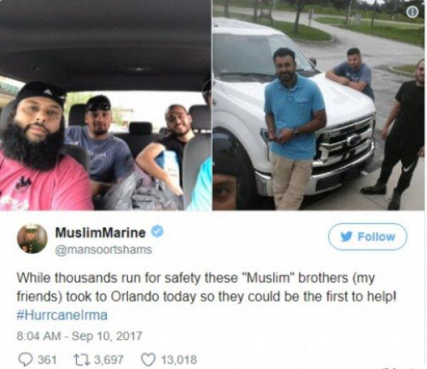 Мусульмане возглавили топ «Невероятных актов помощи жертвам урагана «Ирма»