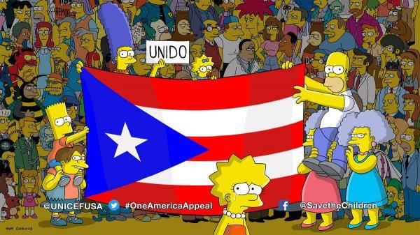 При этом главные персонажи в лице семьи Симпсонов подняли национальный флаг Пуэрто-Рико