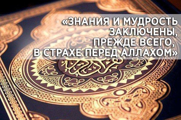 «Знания и мудрость заключены, прежде всего, в страхе перед Аллахом»