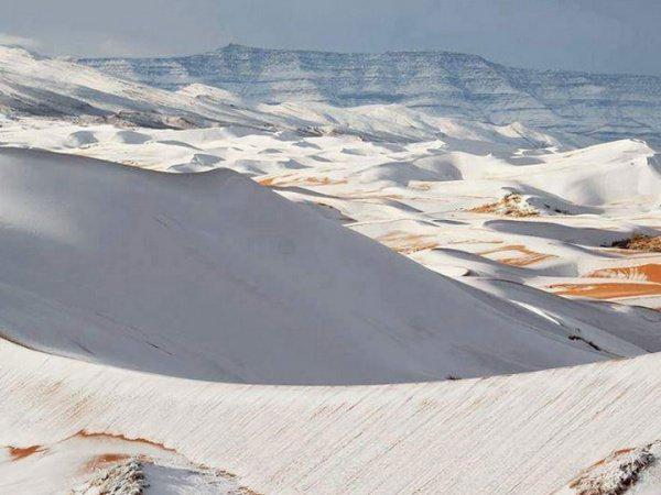 В Сахаре второй год подряд выпадает снег.