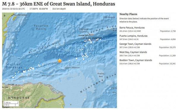 ВКарибском море случилось мощное землетрясение