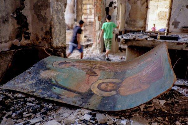 Разрушенный боевиками ИГИЛ (запрещенного в РФ) храм в Ираке.
