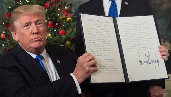 О решении признать Иерусалим столицей Израиля Трамп объявил в декабре 2017 года.