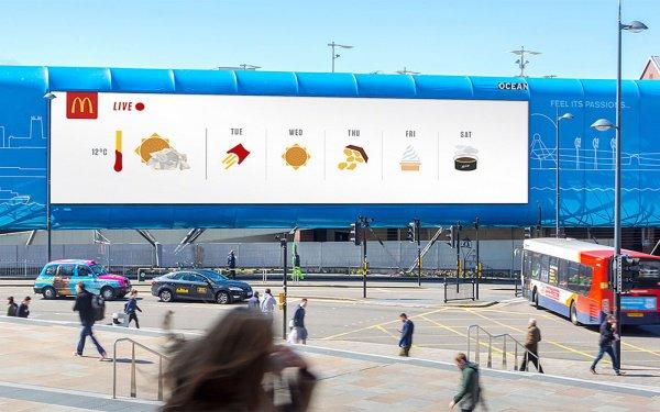 Так информация о погоде от «Макдоналдс» появилась на рекламных экранах и щитах столицы Британии