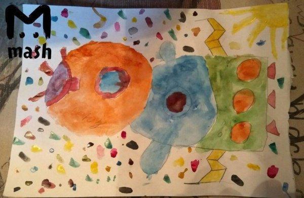 На уроке по рисованию второклассников попросили изобразить космическое пространство