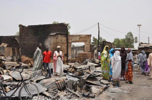 В результате нападения террористов были сожжены дома