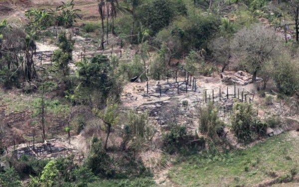 Все, что осталось от деревень рохинджа.