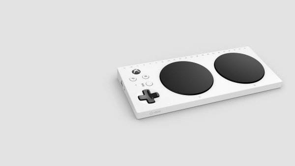 Геймпад прямоугольной формы будет состоять из 2-х круглых кнопок управления