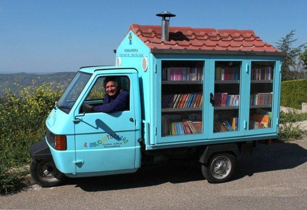 Это мобильный книжный магазин на велосипеде