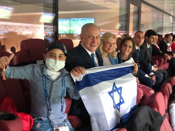 Нетаньяху на полуфинальном матче ЧМ-2018 в Москве.