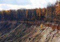 Гигантская воронка появилась на поле фермы в Нижегородской области