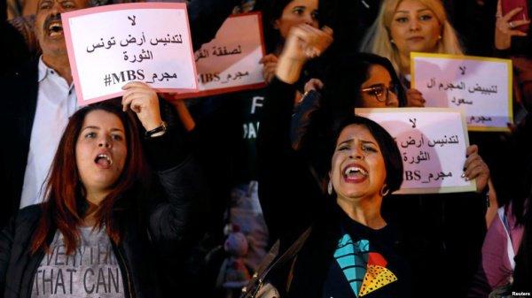 Массовые протесты в Тунисе.