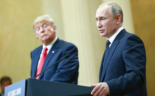 Президенты США и России на встрече в Хельсинки.
