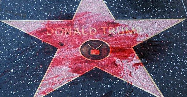 Вандалы в очередной раз осквернили звезду Трампа в Голливуде.