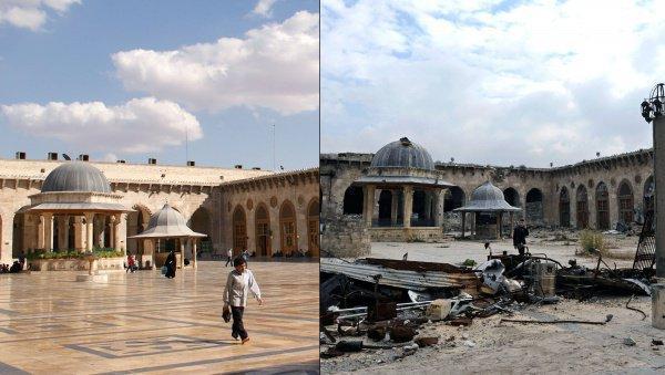 Мечеть Омейядов до и после войны.