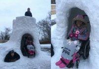В США отец построил снежный дом для дочери и прославился