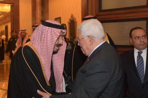 Король Саудовской Аравии и глава Палестины.